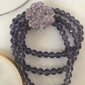 vintage Monet flower rhinestone bracelet purple